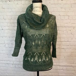 NWT Maurices Cowl Neck Crocheted Pattern Sweater